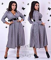 Батальное платье из шерсти с поясом в комплекте