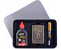 Подарочный набор (серия Конопля) 3в1 Зажигалка, бензин, мундштук №4710-2 SO