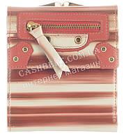Лаковый небольшой прочный женский кожаный кошелек высокого качества Rog Bon art.R6180 красные полосы