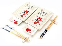 Сервиз для суши Белый с цветами сакуры на 2 персоны керамика