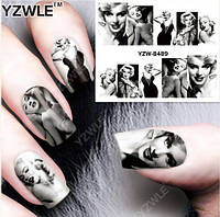 """Наклейка на ногти, наклейка для ногтей, ногтевой дизайн """"Мэрили́н Монро́ Marilyn Monroe"""" 10 шт набор"""