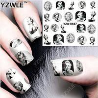 """Наклейка на ногти, наклейка для ногтей, ногтевой дизайн """"Мэрили́н Монро́ Marilyn Monroe"""" 20 шт набор"""