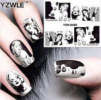 """Наклейка на ногти, наклейка для ногтей, ногтевой дизайн """"Мэрили́н Монро́ Marilyn Monroe"""" 14 шт набор"""