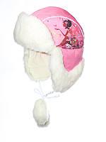 Красивая детская шапка ушанка для девочки розового цвета