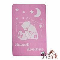 Детское хлопковое одеяло-плед 100х140 Vladi Соні розовый