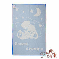 Детское хлопковое одеяло-плед 110х140 Vladi Соні голубой