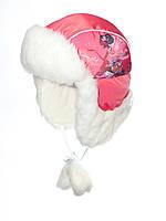Красивая детская шапка ушанка для девочки кораллового цвета