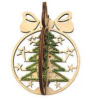 Набор новогоднее украшение из фанеры Новогодний шар Елка F-022
