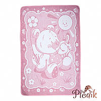 Детское хлопковое одеяло-плед 110х140 Vladi Ведмежатко розовый
