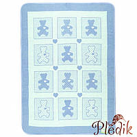 Детское хлопковое одеяло-плед 100х140 Vladi Барні голубой
