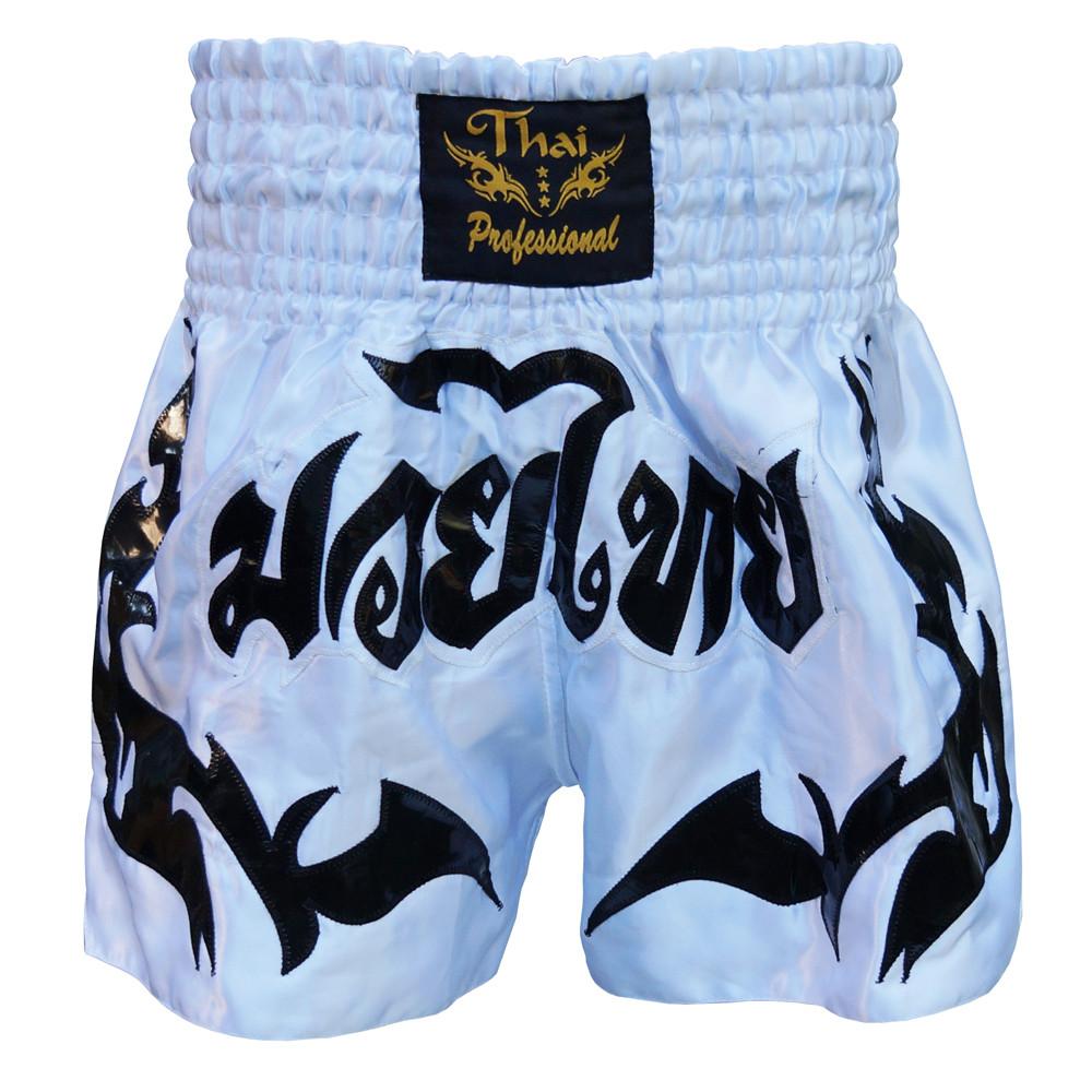 Шорты для Тайского бокса (Muay Thai) Thai Professional S6 White/Black Распродажа