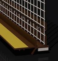 Профиль оконный примыкания коричневый с манжетой и сеткой (6мм)