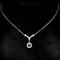 Топаз голубой Лондонский, серебро 925, колье 018ОТ