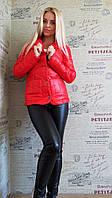 Красный  стеганный пиджак на кнопках. Арт-8947/76