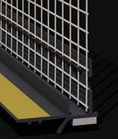 Профиль оконный примыкания серый графит с манжетой и сеткой (6мм)