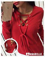 Кофта женская трикотажная со шнуровкой (разные цвета)