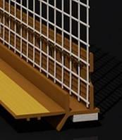 Профиль оконный примыкания золотой дуб с манжетой и сеткой (6мм)