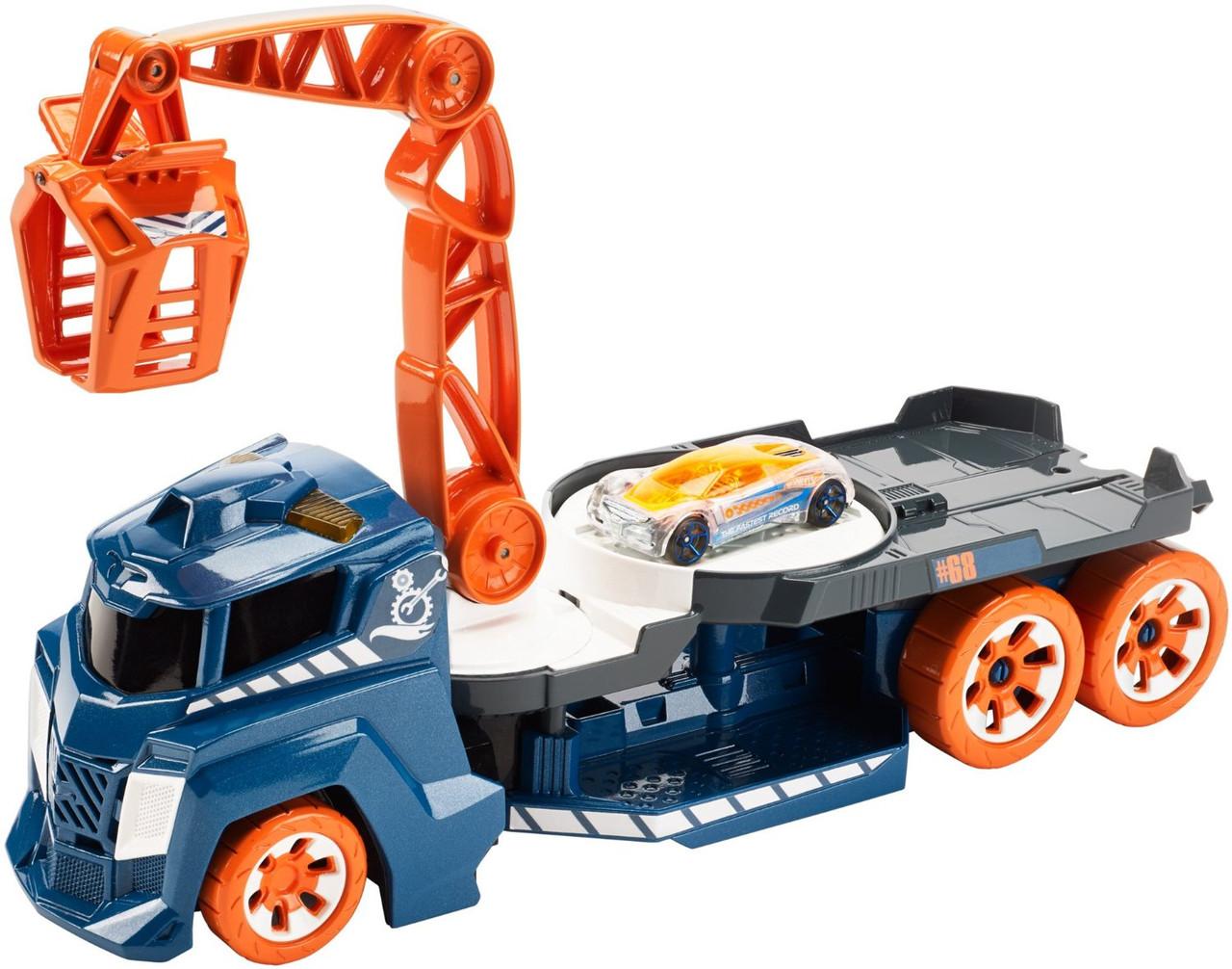 Автовоз с краном Хот Вилс Hot Wheels свет и звук Lights and Sounds Vehicle Spinnin' Sound Crane
