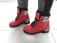 Зимние ботинки красные, фото 1
