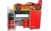 Кровать чердак Тачки ШОК ДРАЙВ (сплошная ламинированная наклейка) купить http://кровать-машина.com.ua/ Кровати машины в спортивном стиле, в виде гоночных автомобилей - лучший выбор 2016!