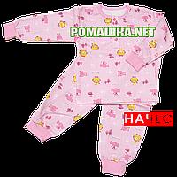 Детская байковая пижама с начесом р. 116 ткань ФУТЕР 100% хлопок ТМ Алекс 3487 Розовый