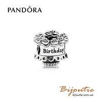 Pandora шарм С ДНЁМ РОЖДЕНЬЯ ТОРТ №791289 серебро 925 Пандора оригинал