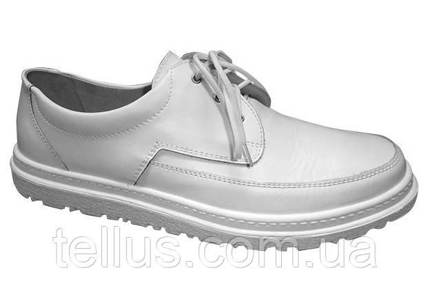 Туфли мужские белые на шнурках