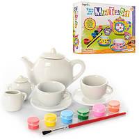 Набор для творч.чайный сервиз MK 0443 2чашк.с блюдц,чайник,молоч,краски