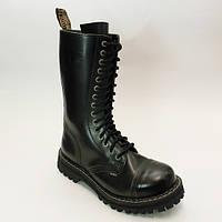 Ботинки  STEEL 135/136O-BLK (кожа, 15 дыр, стальной носок, черевики,шкіра)