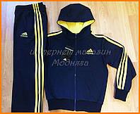 Мужской спортивный костюм Adidas синий с желтым | мужские адидас костюмы