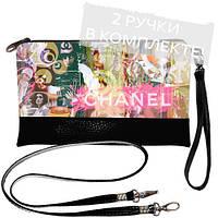 Черный модный клатч с принтом Chanel