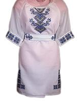 Жіноче вишите плаття з синьо-жовтим узором (Женское вышитое платье с сине-желтым узором) PV-0003