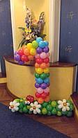"""Цифра """"1"""" из воздушных шаров с божьей коровкой и ромашками на День Рождения девочки / мальчика"""