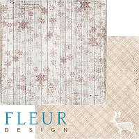 Лист бумаги Fleur Design, Зимние узоры - Заснеженный забор, 30x30 см, 1 шт