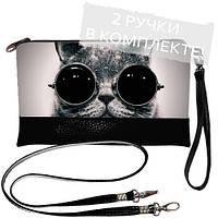 Черный клатч с принтом Кот в очках