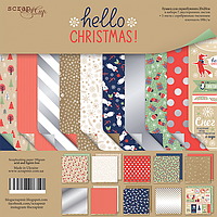 Набор бумаги от Scrap Мир - Hello Christmas, 20x20 см, 10 листов