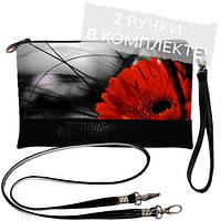 Черный стильный клатч с принтом Красный цветок