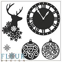 Набор штампов от Fleur Design, Новогодняя коллекция - Бой курантов, 10,5x10,5 см