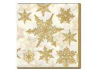 Салфетка для декупажа — Золотистые снежинки, 33x33 см