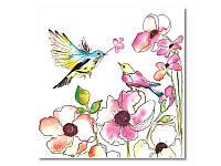Салфетка для декупажа MAKI Акварельные птицы и цветы, размер в развёрнутом виде 33x33 см