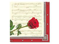 Салфетка для декупажа MAKI Музыкальная роза, размер в развёрнутом виде 33x33 см