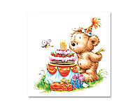 Салфетка для декупажа MAKI Праздничный медвежонок, размер в развёрнутом виде 25x25 см