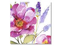 Салфетка для декупажа Ti-Flair Акварельные цветы, розовые, размер в развёрнутом виде 33x33 см