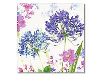 Салфетка для декупажа Ti-Flair Акварельные цветы, сиреневые, размер в развёрнутом виде 33x33 см