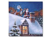 Салфетка для декупажа Ti-Flair — Санта на крыше, размер в развёрнутом виде 33x33 см