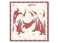Салфетка для декупажа Ti-Flair Смешные Санты, размер в развёрнутом виде 33x33 см
