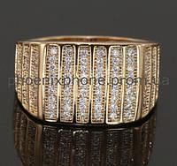 Кольцо, усыпанное фианитами, покрытое золотом (127170) 17