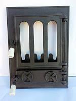 Дверца для печи и барбекю Классическая, печная дверка со стеклом