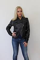 Стильная черная курточка на змейке. Арт-8951/76