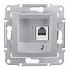 Механизм розетки телефонной RJ11, 1-ная, 4 контакта алюминий Schneider Electric Sedna